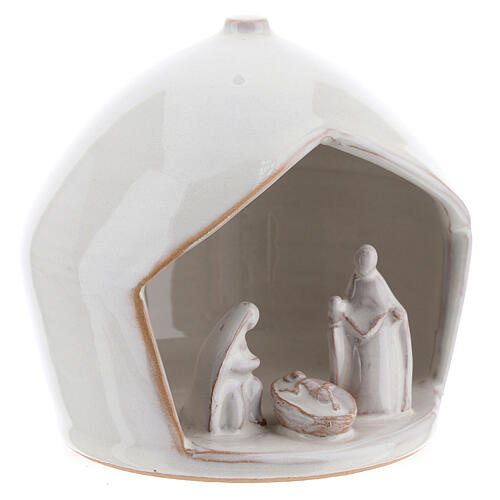 White modern Holy Family set in terracotta with stable 12x11 cm 3