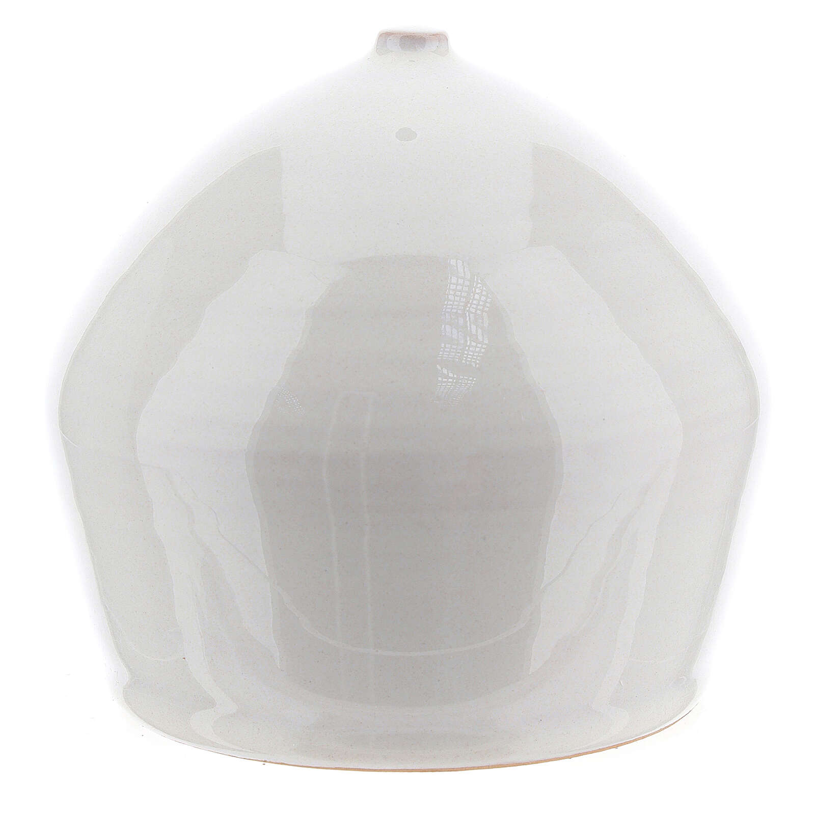 Crèche moderne terre cuite blanche ouverture équarrie 12x11 cm 4