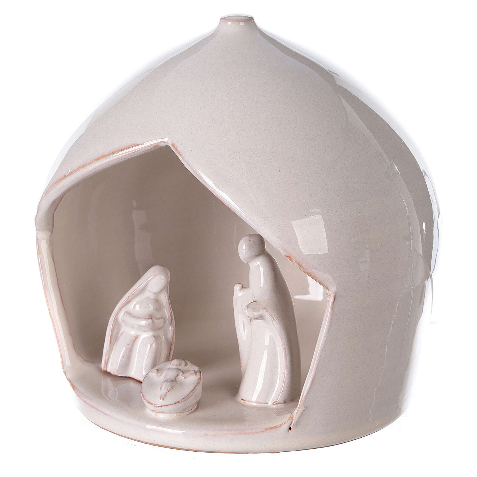White Holy Family set in Deruta terracotta 16x15 cm 4