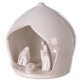 White Holy Family set in Deruta terracotta 16x15 cm s2
