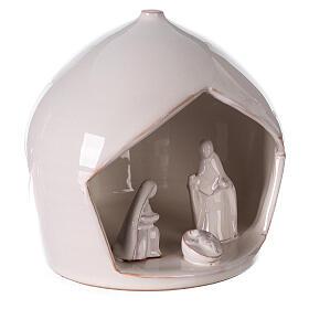 White Holy Family set in Deruta terracotta 16x15 cm s3
