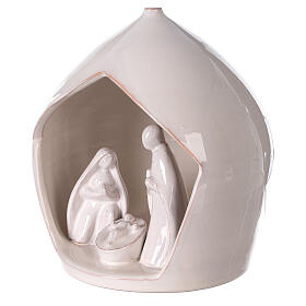 Crèche terre cuite blanche ouverture équarrie Sainte Famille Deruta 20x18 cm s2