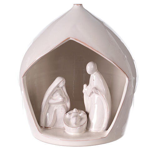 Crèche terre cuite blanche ouverture équarrie Sainte Famille Deruta 20x18 cm 1