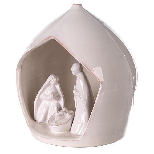 Crèche terre cuite blanche ouverture équarrie Sainte Famille Deruta 20x18 cm 2