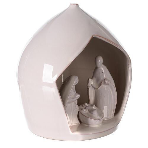 Presepe terracotta bianca apertura squadrata Sacra Famiglia Deruta 20x18 cm  3