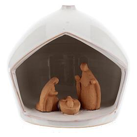 Cabaña belén Natividad bicolor terracota Deruta 12x11 cm s1