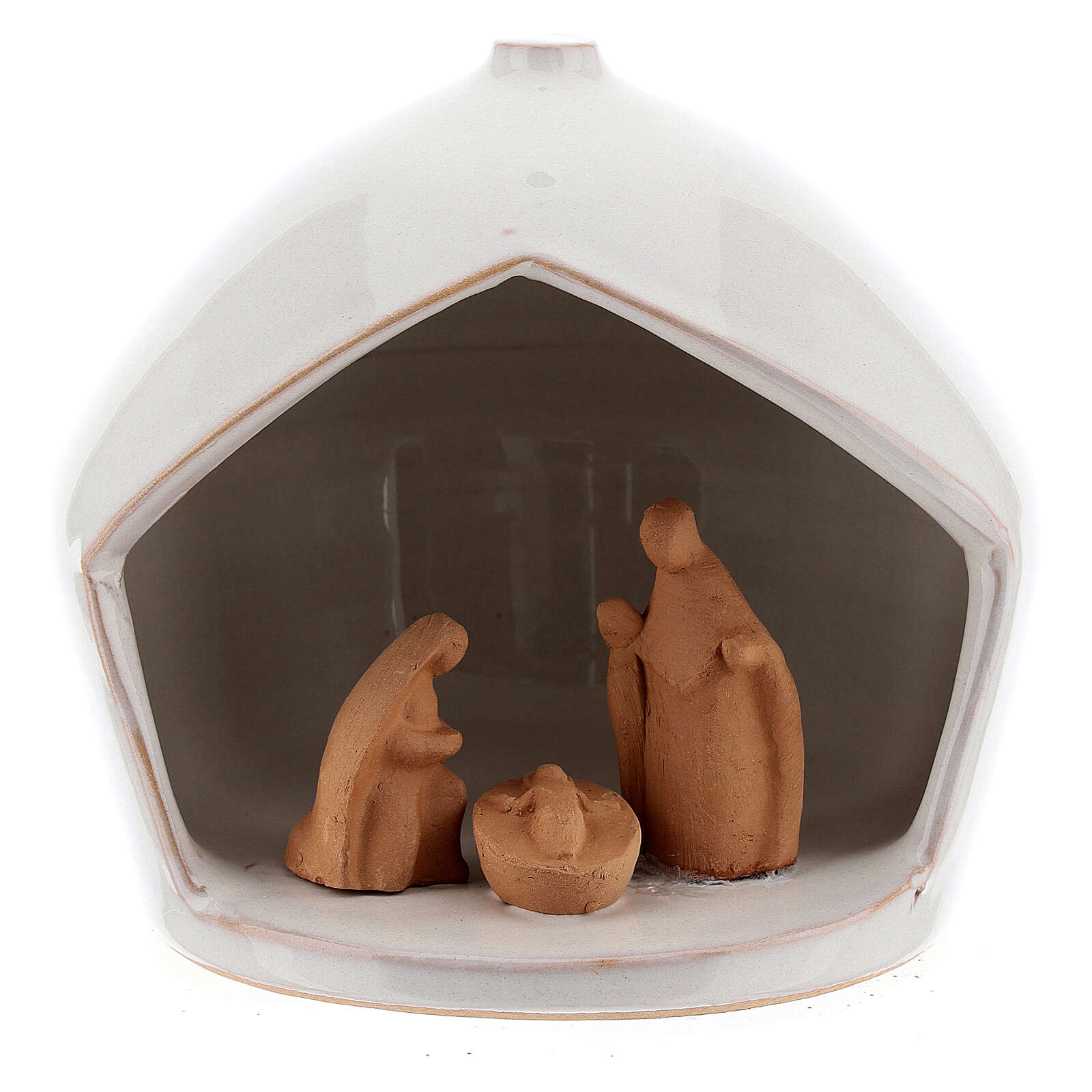 Cabane crèche Nativité bicolore terre cuite Deruta 12x11 cm 4