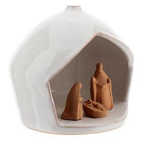 Capanna presepe Natività bicolore terracotta Deruta 12x11 cm s3