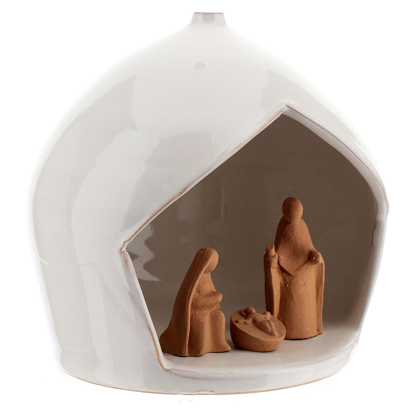 Round stable with Holy Family set Deruta terracotta 16x15 cm 4
