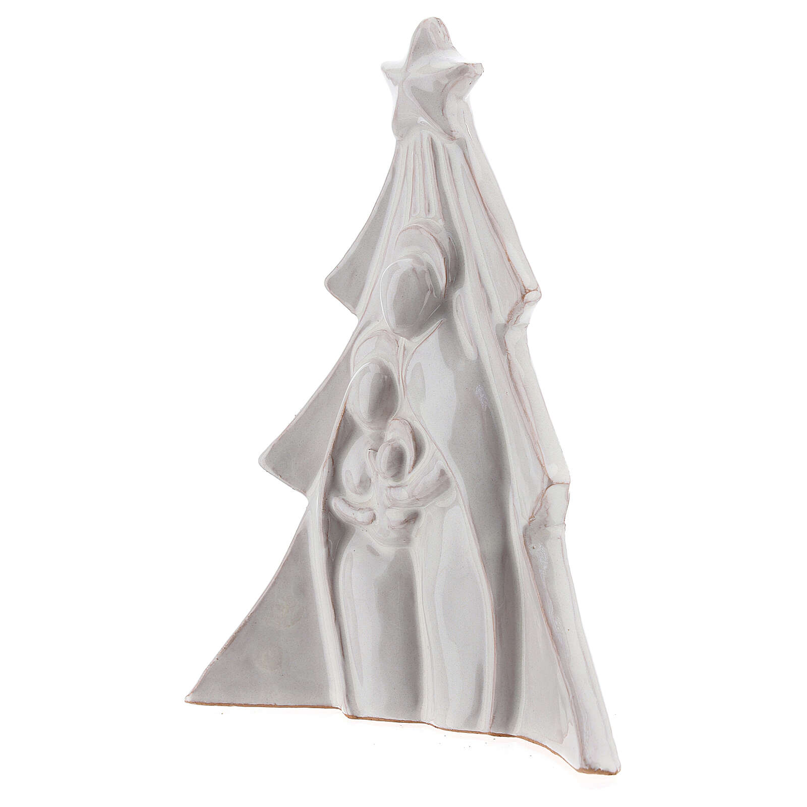 Christmas tree with Holy Family bas-relief in white Deruta terracotta 19x16 cm 4