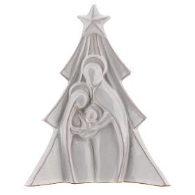 Christmas tree with Holy Family bas-relief in white Deruta terracotta 19x16 cm s1