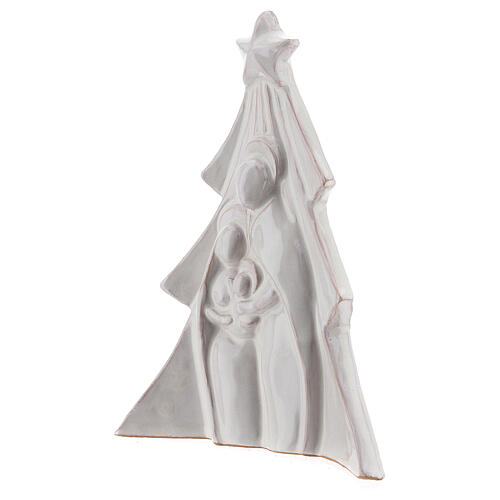 Christmas tree with Holy Family bas-relief in white Deruta terracotta 19x16 cm 2