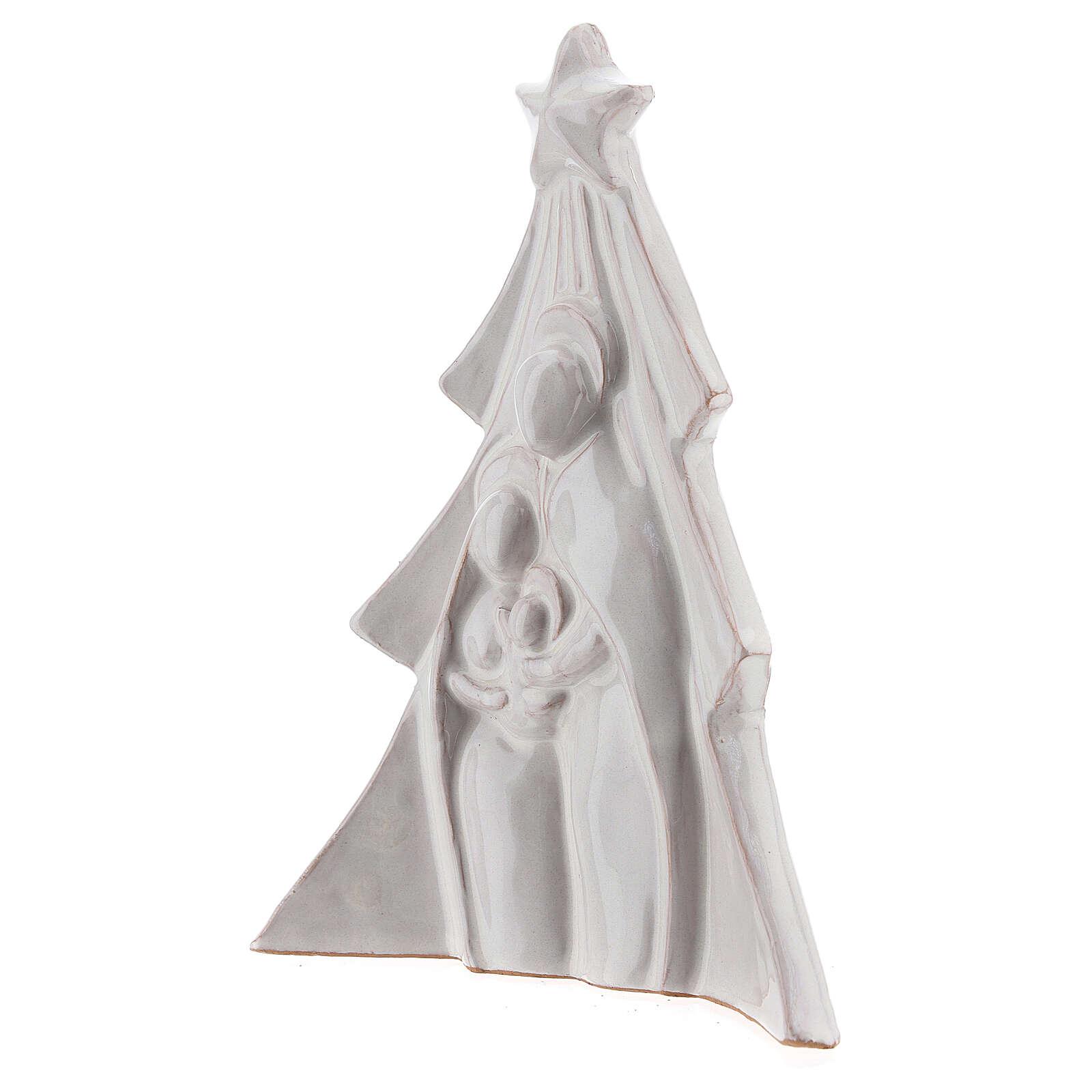 Árbol Navidad terracota blanca rilieve Sagrada Familia Deruta 19x16 cm 4