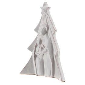 Árbol Navidad terracota blanca rilieve Sagrada Familia Deruta 19x16 cm s2