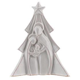 Albero Natale terracotta bianca rilievo Sacra Famiglia Deruta 19x16 cm s1