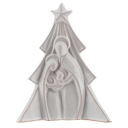 Albero Natale terracotta bianca rilievo Sacra Famiglia Deruta 19x16 cm 1