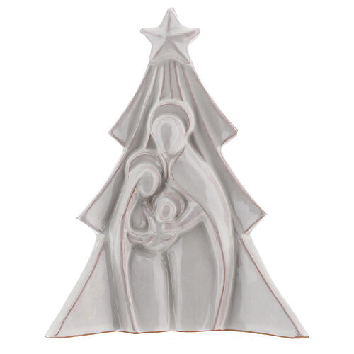 Christmas tree with bas-relief Holy Family in white Deruta terracotta 19x16 cm 1