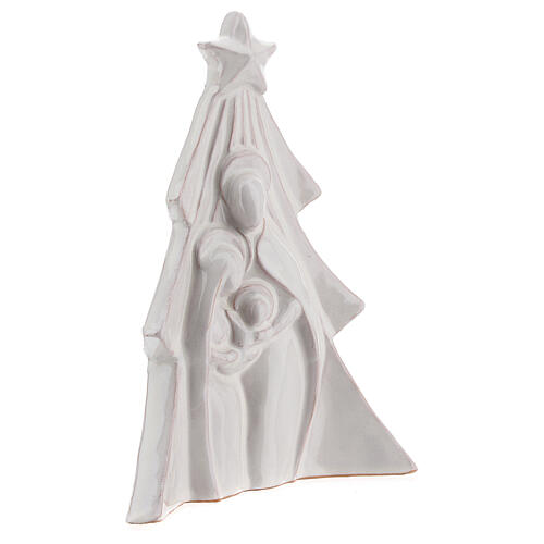 Christmas tree with bas-relief Holy Family in white Deruta terracotta 19x16 cm 3