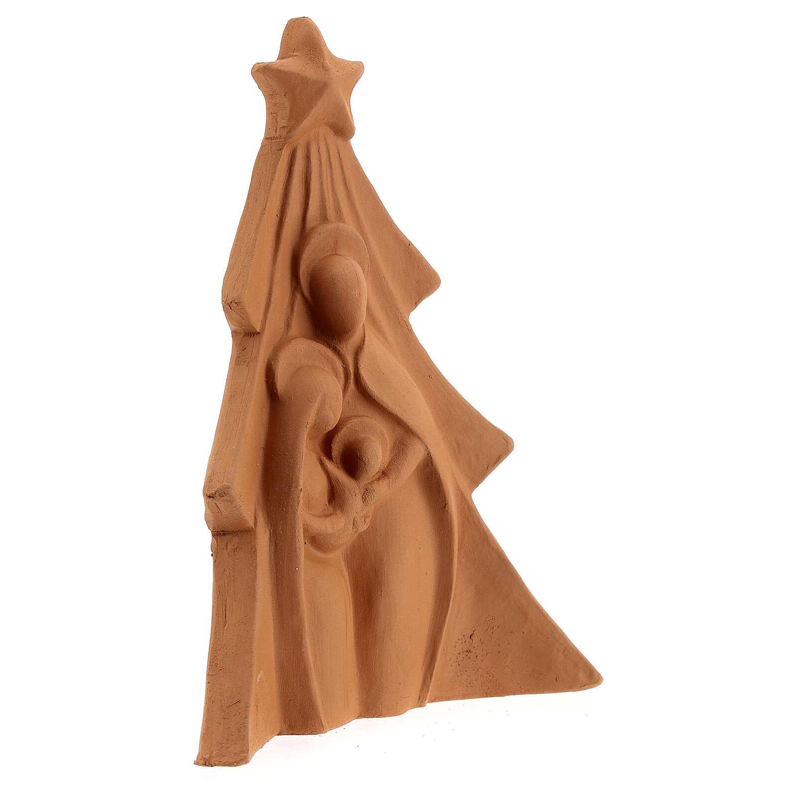 Christmas tree with Holy Family bas-relief in natural Deruta terracotta 19x16 cm 4
