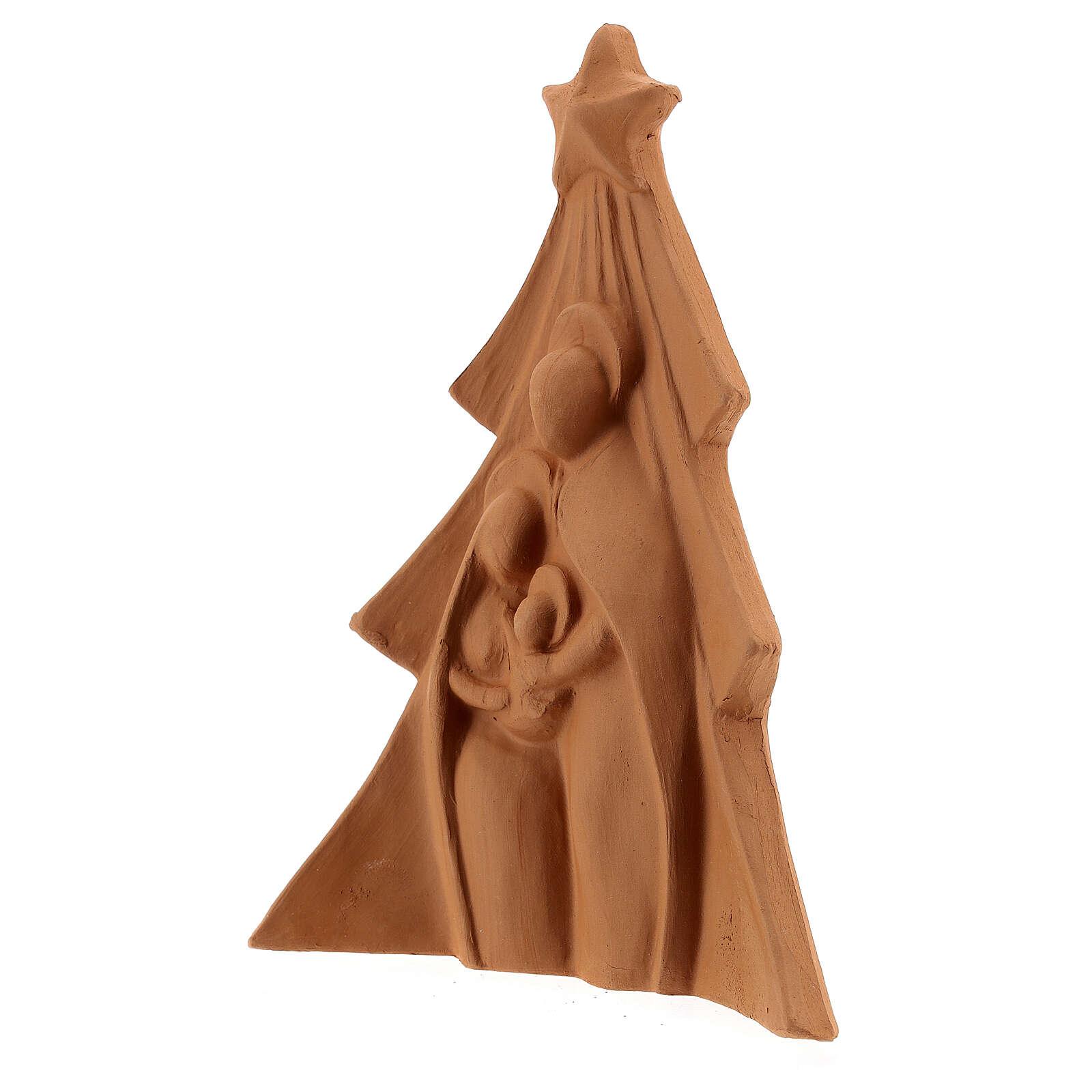 Composizione terracotta naturale Albero Sacra Famiglia Deruta 19 cm 4