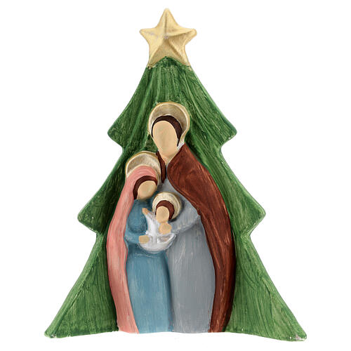 Presepe albero Sacra Famiglia terracotta colorata Deruta 19x16 cm 1