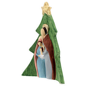 Christmas tree Holy Family decoration in colored Deruta terracotta 19x16 cm s2