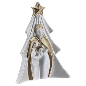 Holy Family Christmas decoration in white and gold Deruta terracotta 19 cm s3