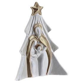 Sacra Famiglia albero terracotta Deruta bianco oro 19x16 cm s3