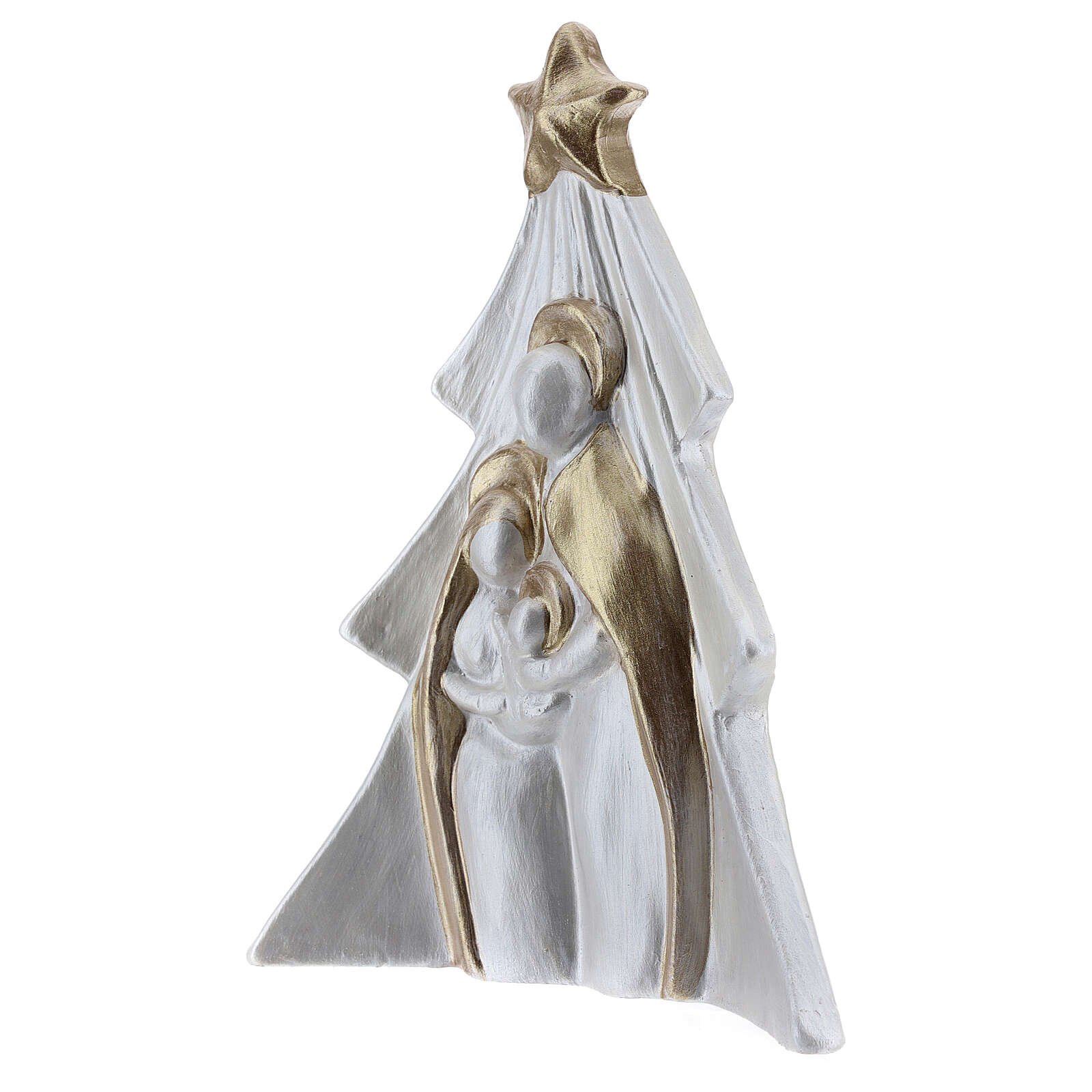 Holy Family Christmas decoration in white gold Deruta terracotta 19x16 cm 4
