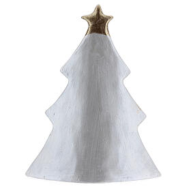 Holy Family Christmas decoration in white gold Deruta terracotta 19x16 cm s4
