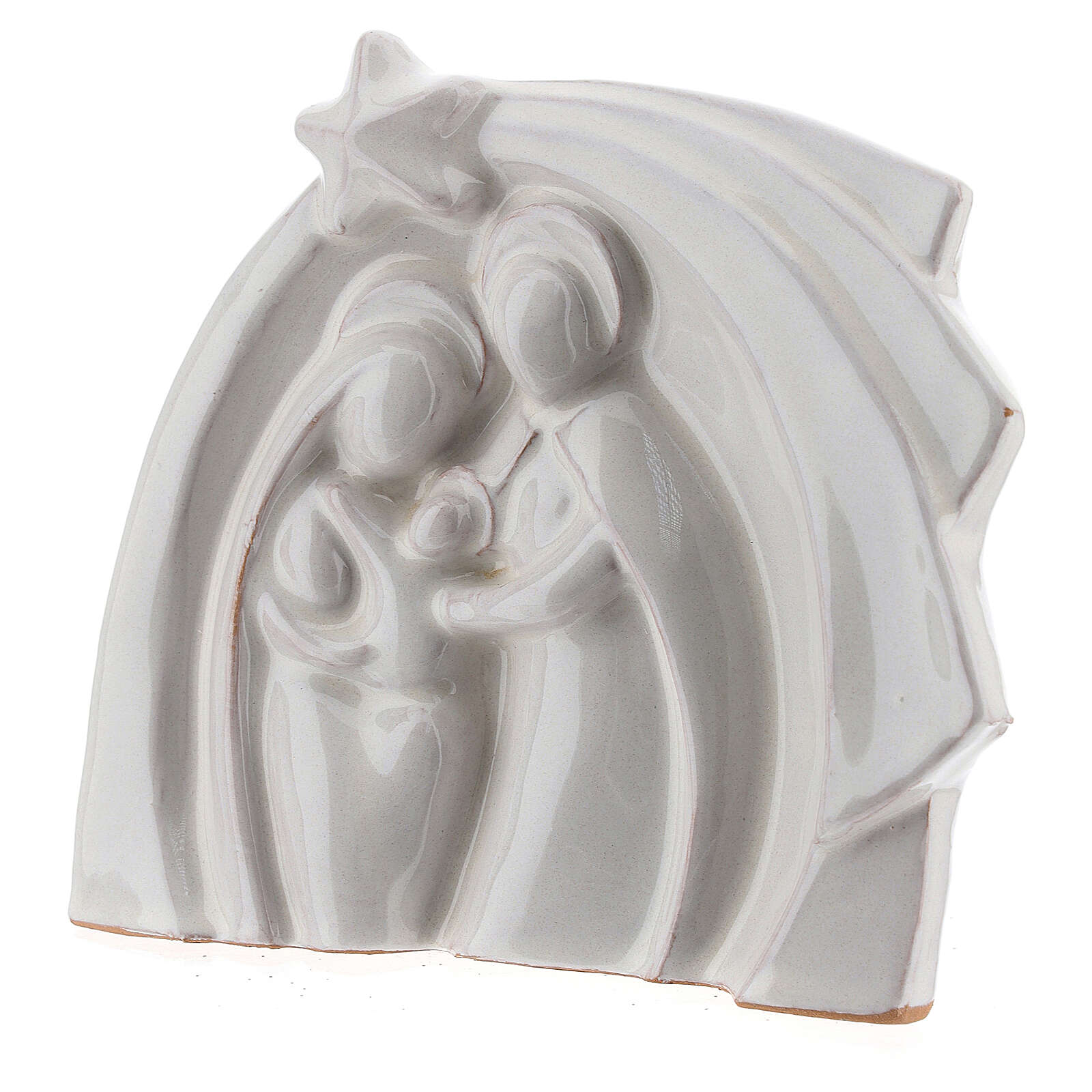 White Holy Family modern style in Deruta terracotta 14x16 cm 4
