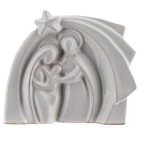 White Holy Family modern style in Deruta terracotta 14x16 cm s1