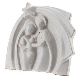 White Holy Family modern style in Deruta terracotta 14x16 cm s2
