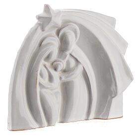 White Holy Family modern style in Deruta terracotta 14x16 cm s3