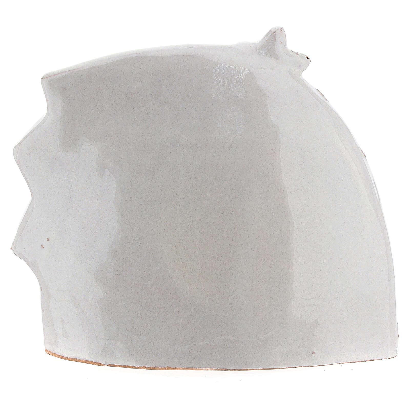 Cabane Nativité style moderne terre cuite blanche Deruta 14x16 cm 4