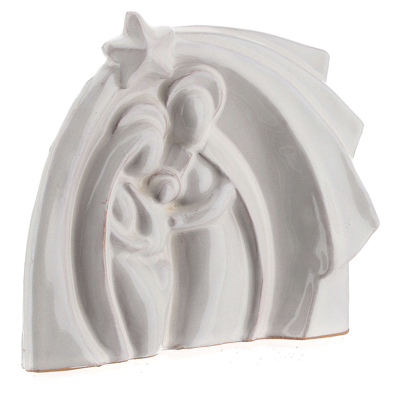 White Nativity set modern in Deruta terracotta 14x16 cm 4