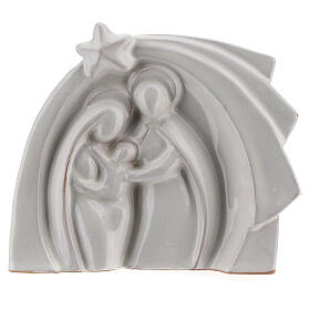 White Nativity set modern in Deruta terracotta 14x16 cm s1