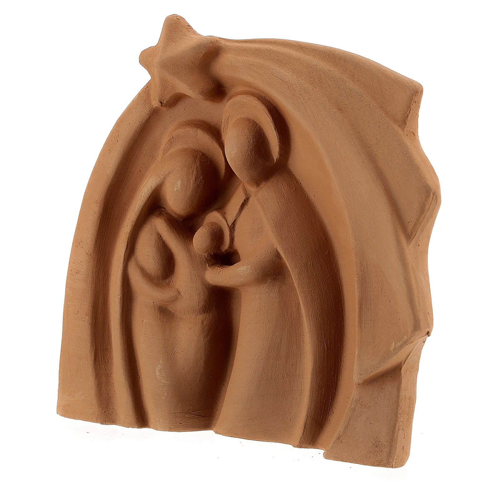 Holy Family modern style in natural Deruta terracotta 14x16 cm 4