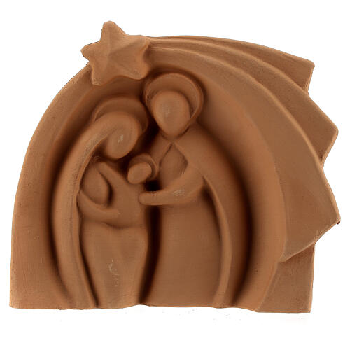 Natural terracotta stable Deruta Holy family relief 14x16 cm 1