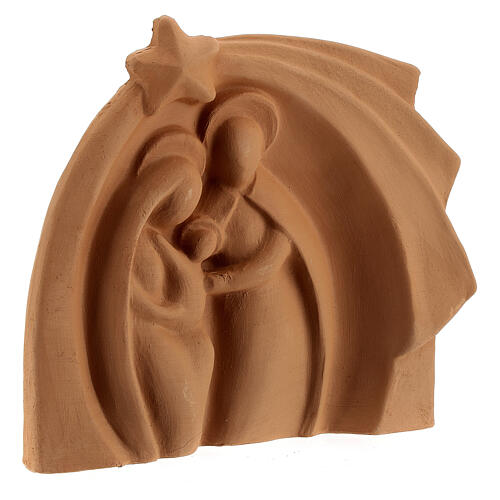 Natural terracotta stable Deruta Holy family relief 14x16 cm 3