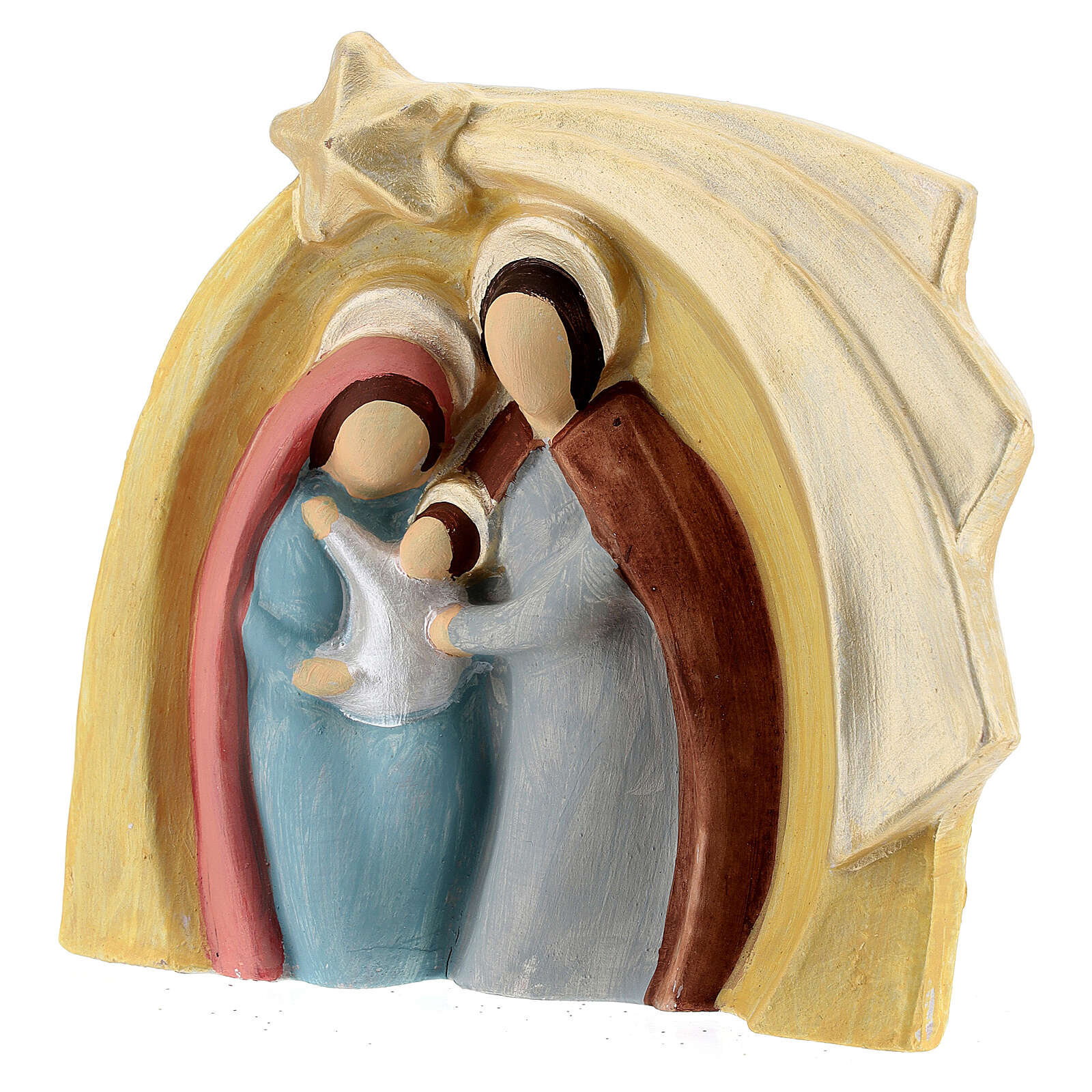 Colored Holy Family bas-relief statue in Deruta terracotta 14x16 cm 4