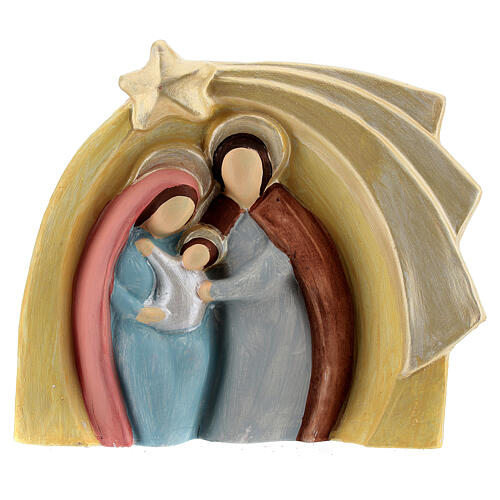 Colored Holy Family bas-relief statue in Deruta terracotta 14x16 cm 1