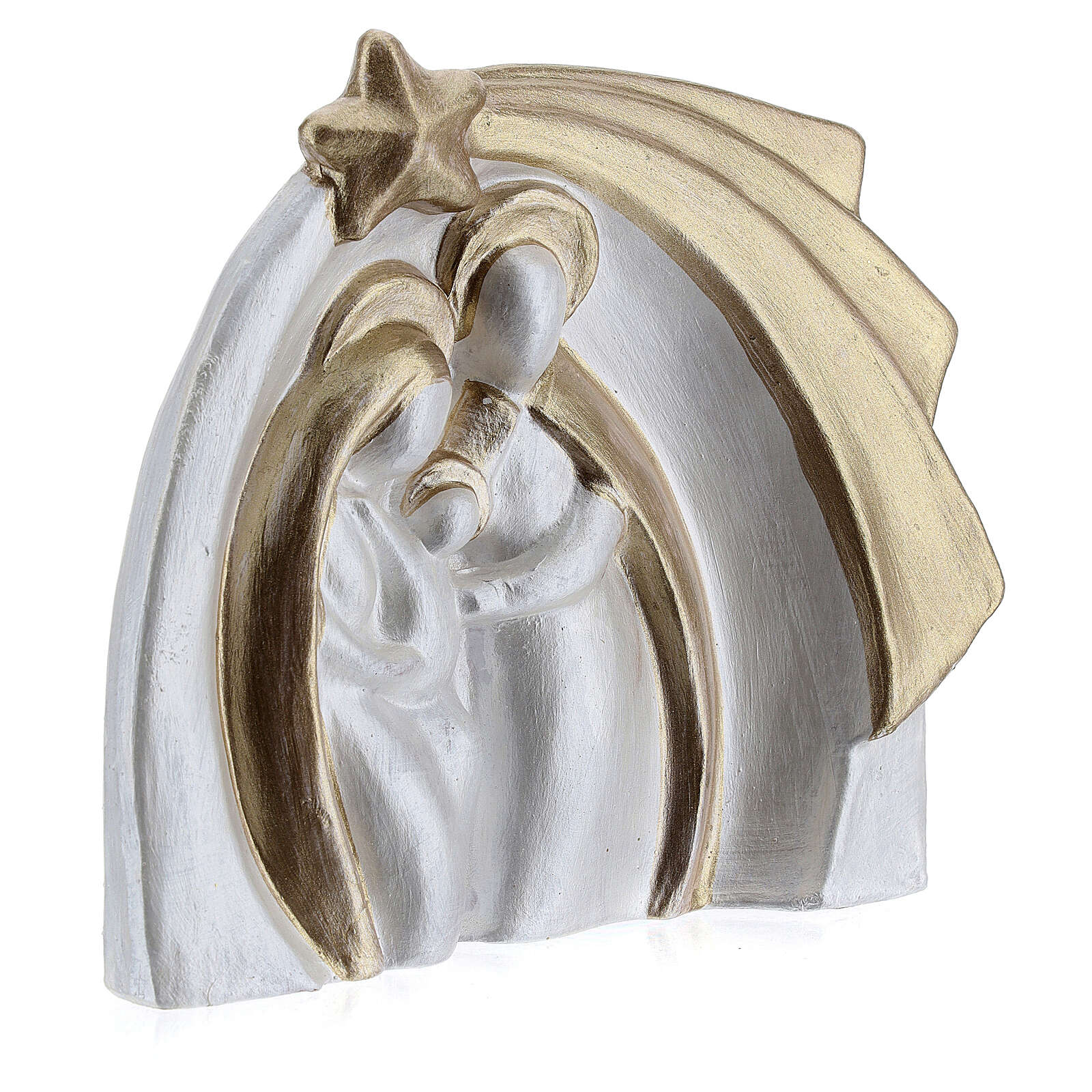 Holy Family modern style in white and gold Deruta terracotta 14x16 cm 4
