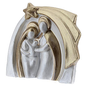 Holy Family modern style in white and gold Deruta terracotta 14x16 cm s2
