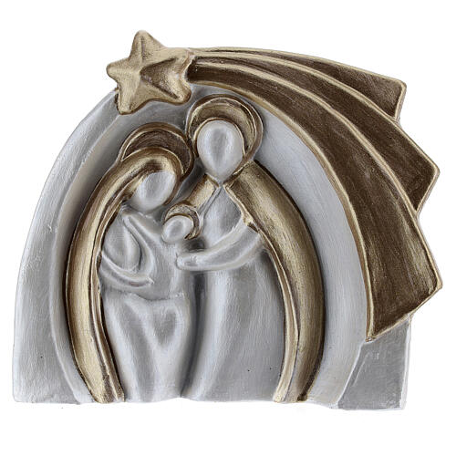 Holy Family modern style in white and gold Deruta terracotta 14x16 cm 1