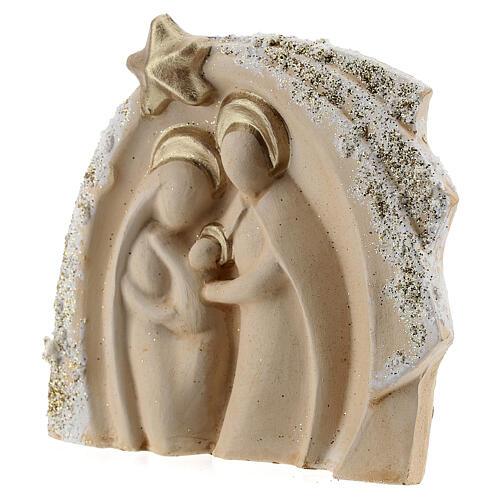Capanna Sacra Famiglia avorio decori oro terracotta Deruta 14x16 cm 2