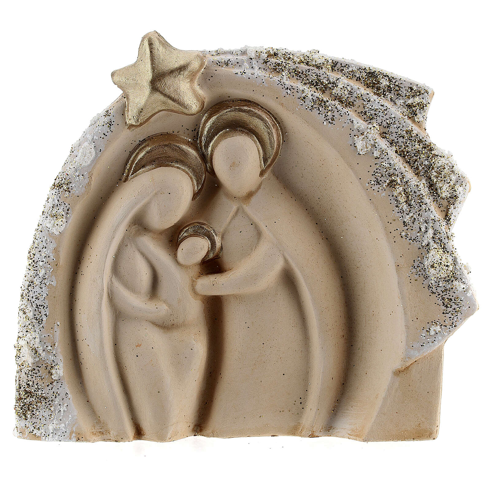 Holy Family figure with stable ivory gold decor in Deruta terracotta 14x16 cm 4
