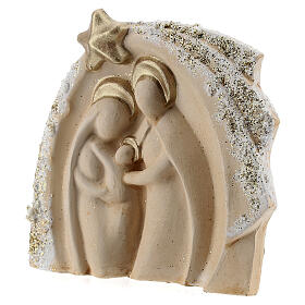 Holy Family figure with stable ivory gold decor in Deruta terracotta 14x16 cm s2