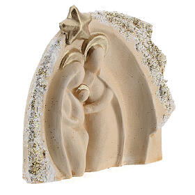 Holy Family figure with stable ivory gold decor in Deruta terracotta 14x16 cm s3