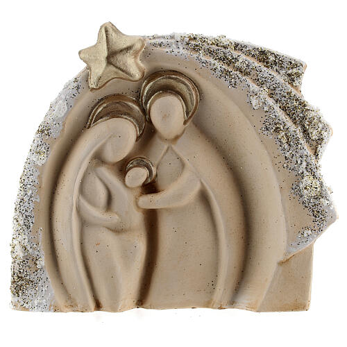 Holy Family figure with stable ivory gold decor in Deruta terracotta 14x16 cm 1